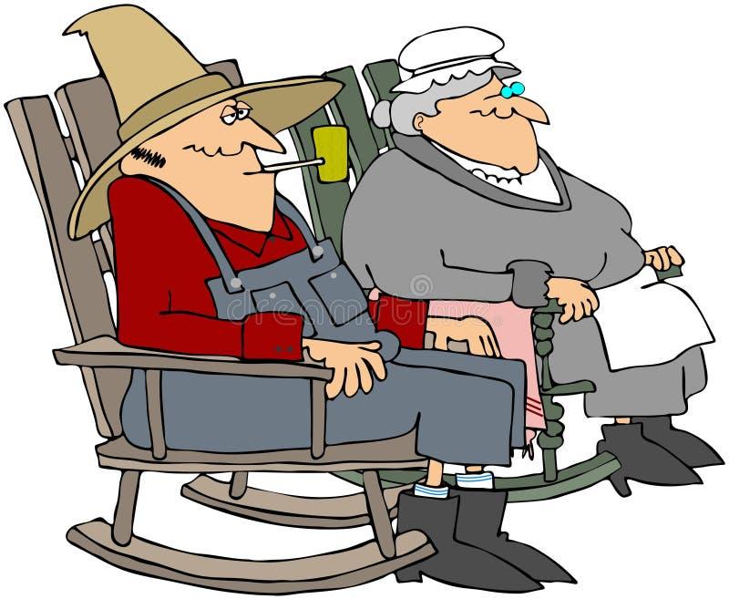 Vieux gens dans des présidences d'oscillation illustration libre de droits