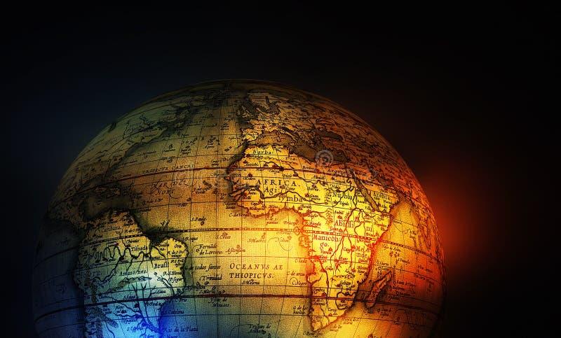 Vieux globe de carte d'histoire illustration stock