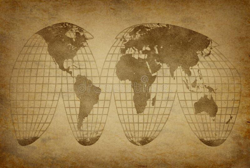 Vieux globe grunge de carte illustration de vecteur