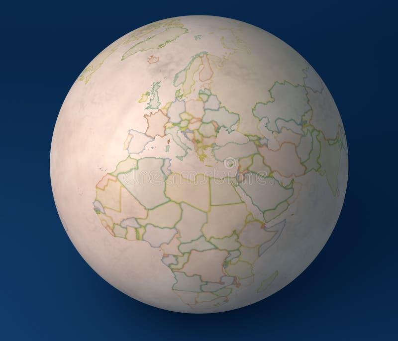 Vieux globe politique de carte de l'Europe, de Moyen-Orient Asie et de l'Afrique illustration stock