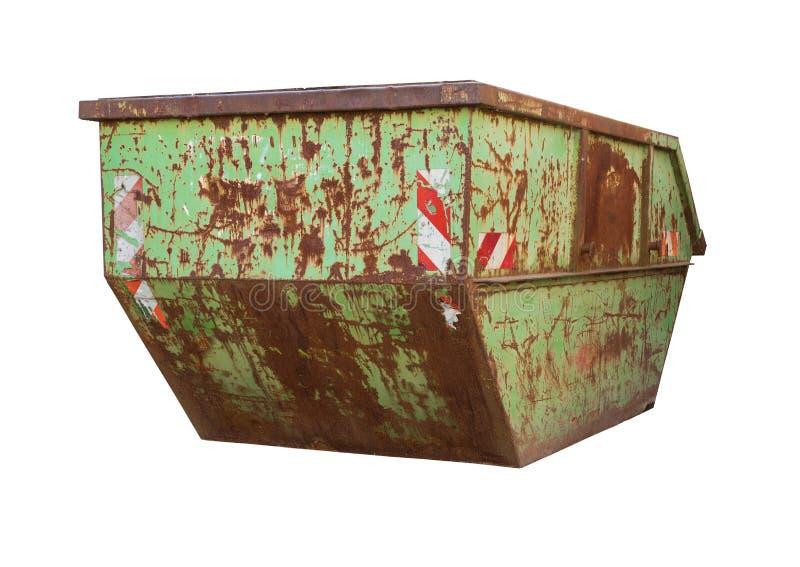Vieux grands déchets verts de décharge - Rusty Container d'isolement sur le blanc images libres de droits