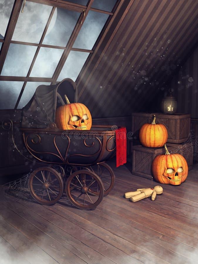Vieux grenier avec des potirons de Halloween illustration libre de droits
