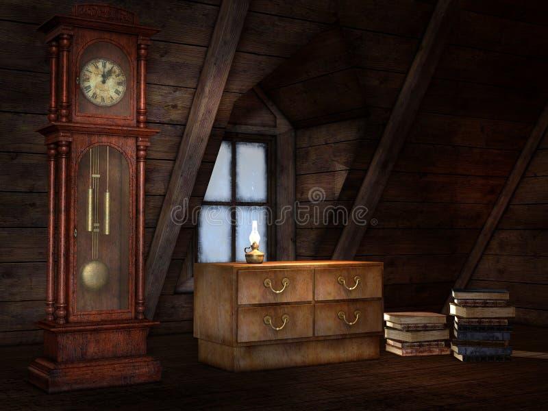 Vieux grenier avec une horloge illustration de vecteur