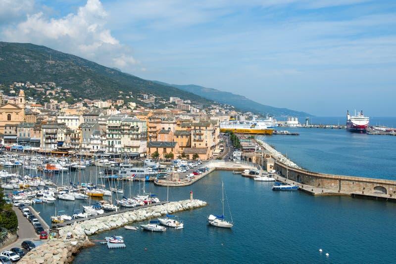 Vieux-Hafen, der alte Hafen, in Bastia, Frankreich stockfotografie