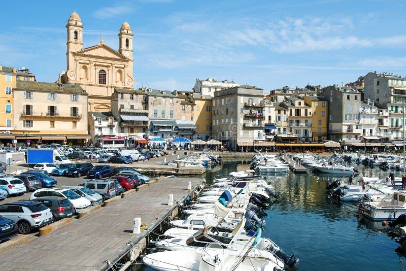 Vieux-Hafen, der alte Hafen, in Bastia, Frankreich lizenzfreie stockbilder
