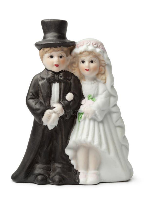 Vieux haut de forme de gâteau de mariée et de marié de plâtre photographie stock libre de droits