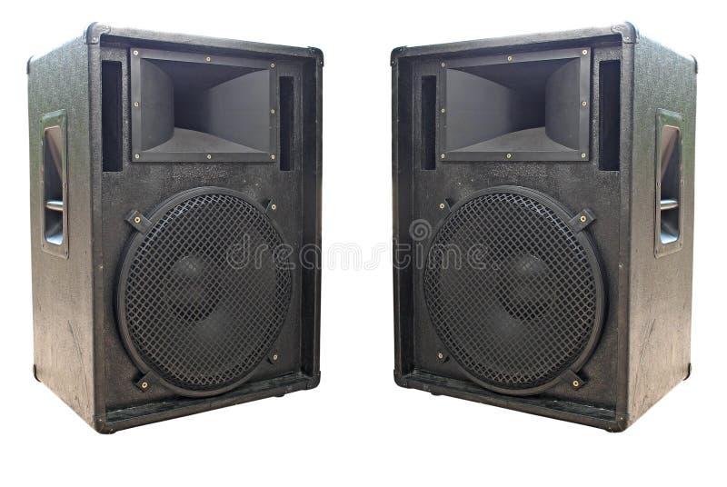 vieux haut-parleurs deux de concert sonore images stock