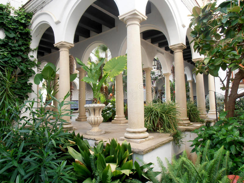 Vieux jardin, décoré de beaucoup d'usines photographie stock libre de droits