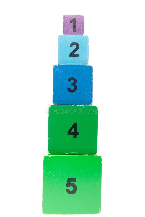 Vieux jouet de empilement coloré et numéroté de cadres image stock