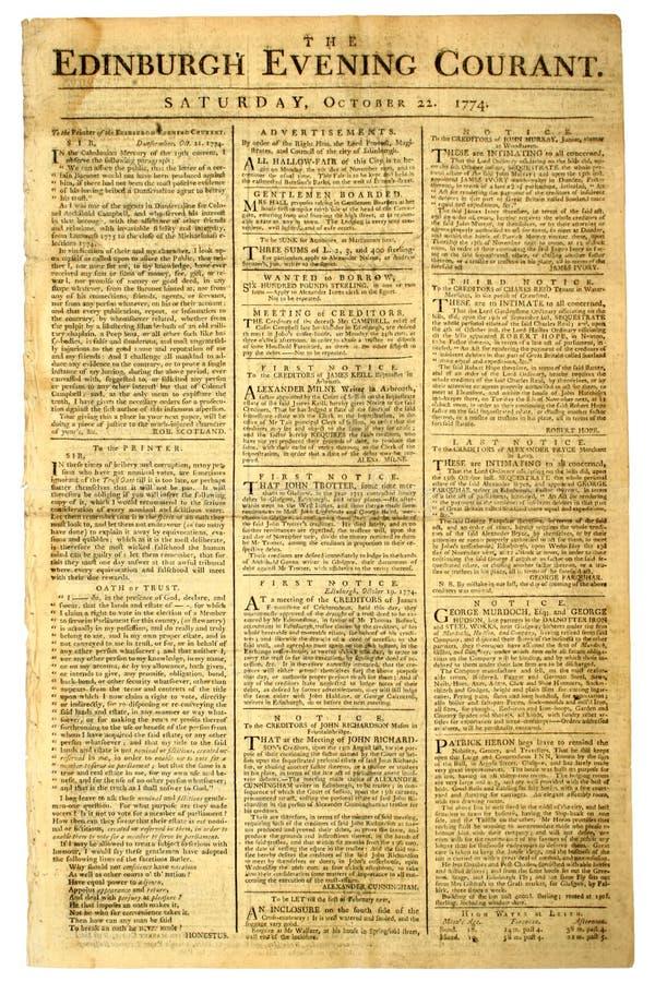 Vieux journal écossais. image libre de droits