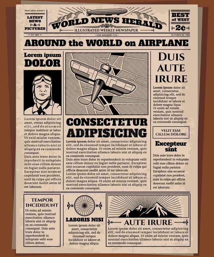Vieux journal, calibre de vecteur de papier journal de vintage illustration libre de droits