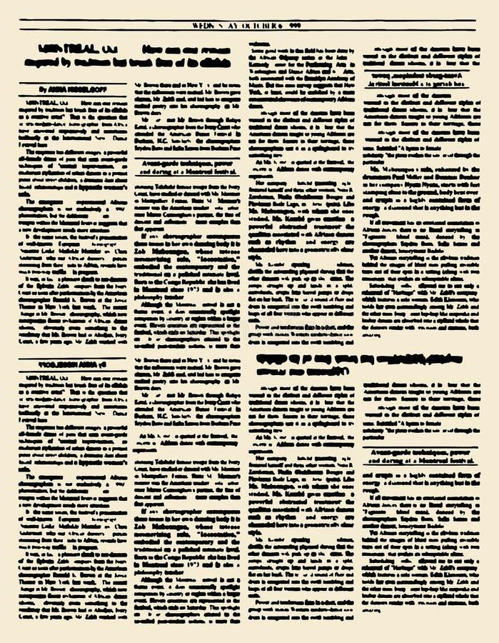 Vieux journal Page de magazine de vintage Illustration de vecteur Yello illustration stock