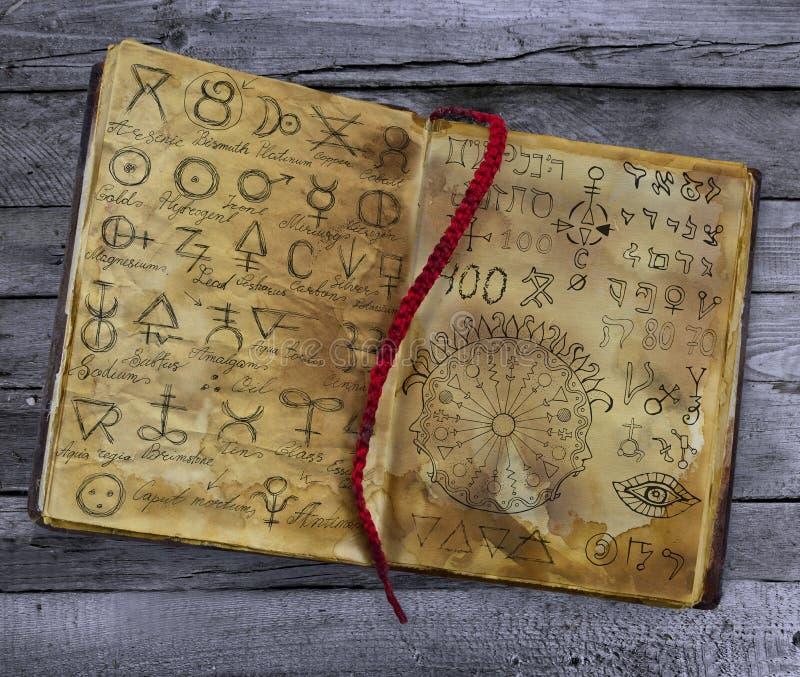 Vieux livre avec des symboles alchimiques se trouvant sur la table en bois illustration de vecteur
