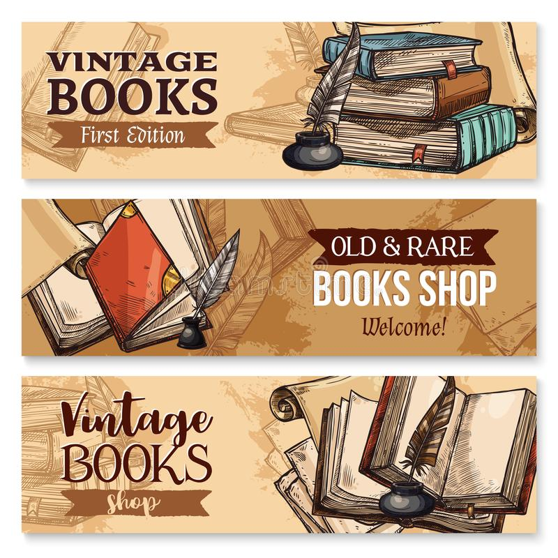 Vieux livre avec le stylo de plume et l'ensemble de bannière d'encrier encastré illustration libre de droits