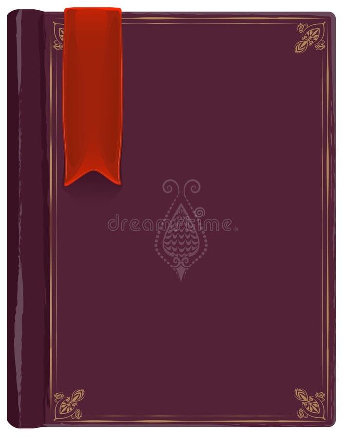 Vieux livre fermé avec un repère rouge illustration de vecteur