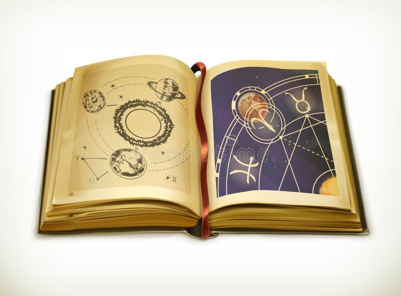 Vieux livre, icône de vecteur d'astrologie illustration stock