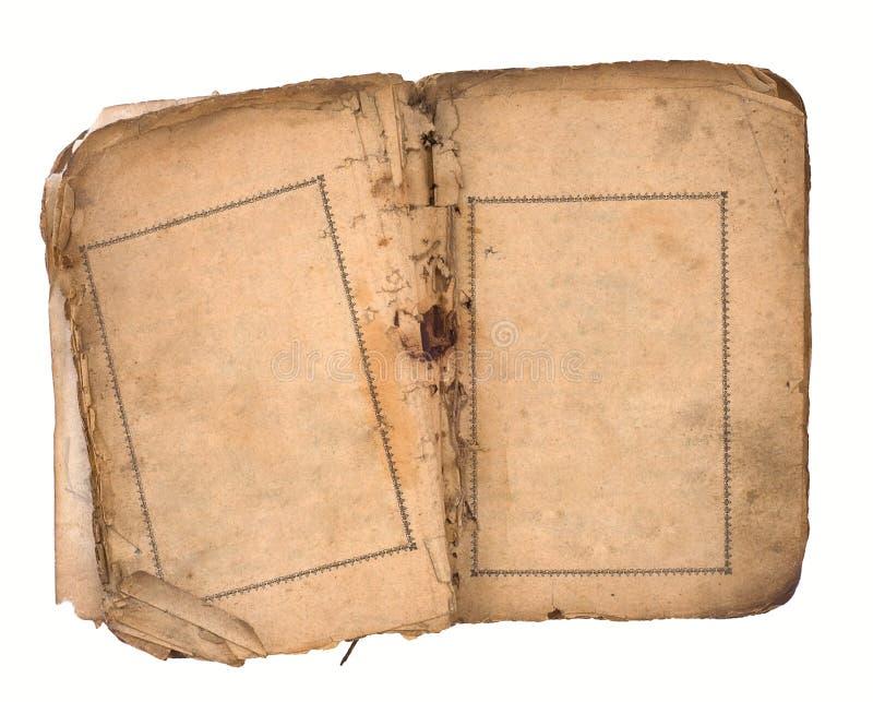 Vieux livre ouvert aux deux pages blanc. photos stock