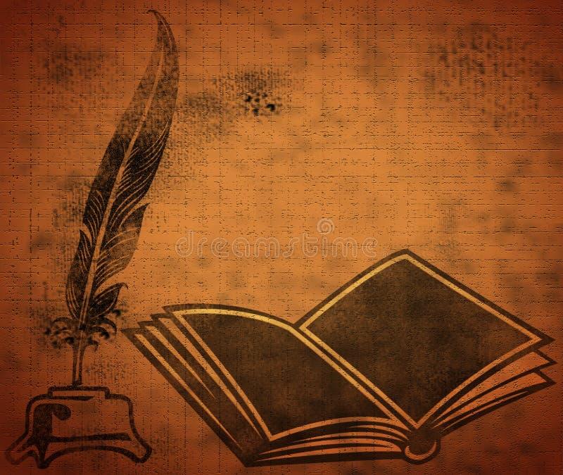 Livre ouvert avec la cannette illustration stock