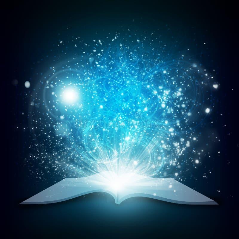 Vieux livre ouvert avec la lumière et les étoiles filantes magiques illustration libre de droits