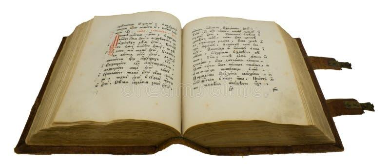 Vieux livre ouvert avec le blocage, d'isolement sur le blanc photo libre de droits