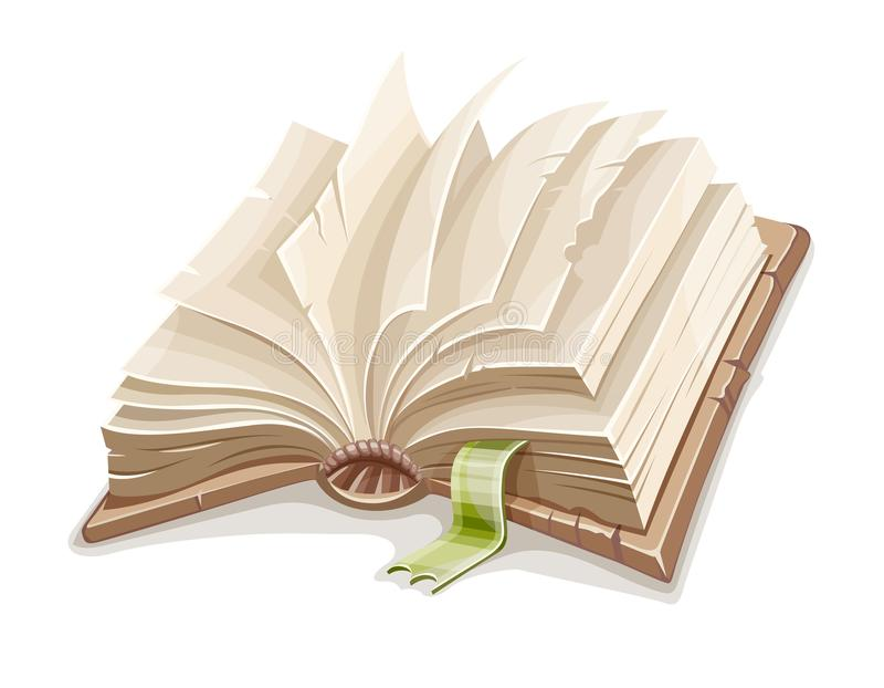 Vieux livre ouvert répandu avec le papier blanc illustration de vecteur