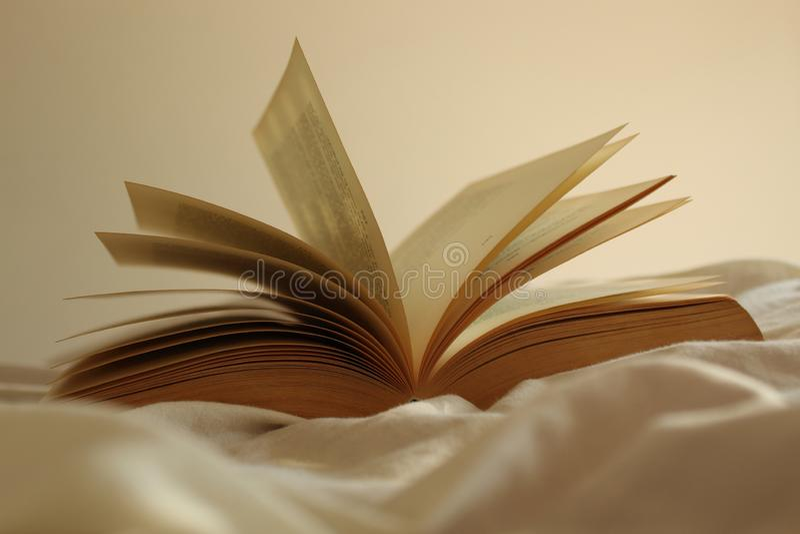 Vieux livre ouvert sur un lit image libre de droits