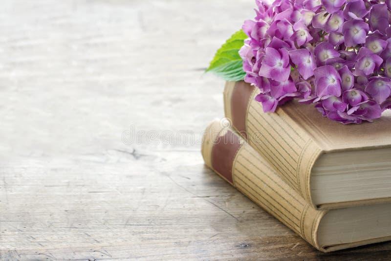 Vieux livres avec les fleurs et l'espace roses de copie photos stock