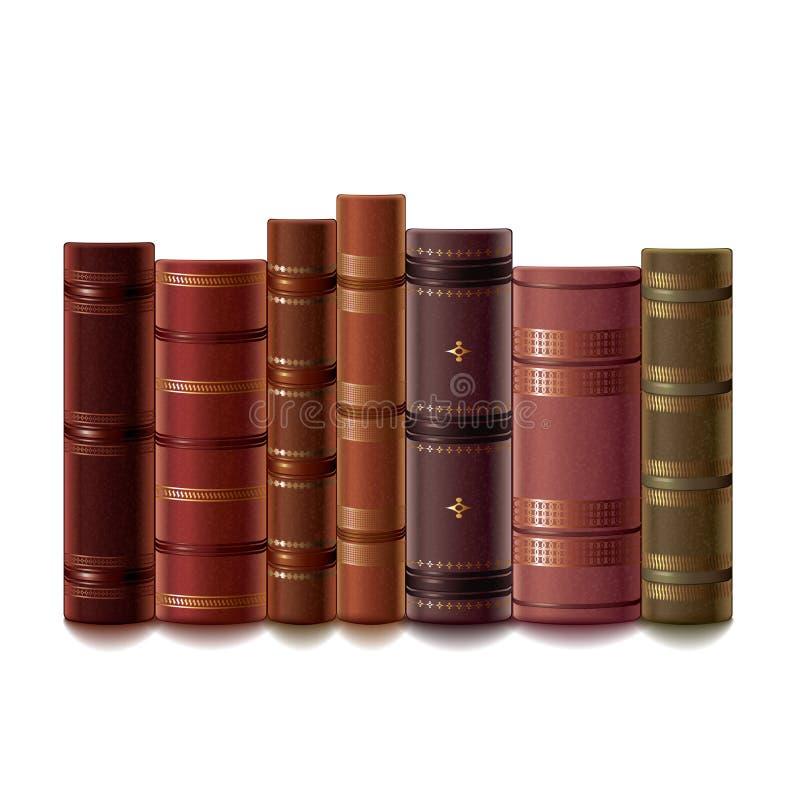 Vieux livres sur le vecteur blanc illustration stock