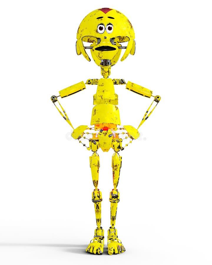 Vieux llustration mécanique triste de robot en métal jaune illustration stock