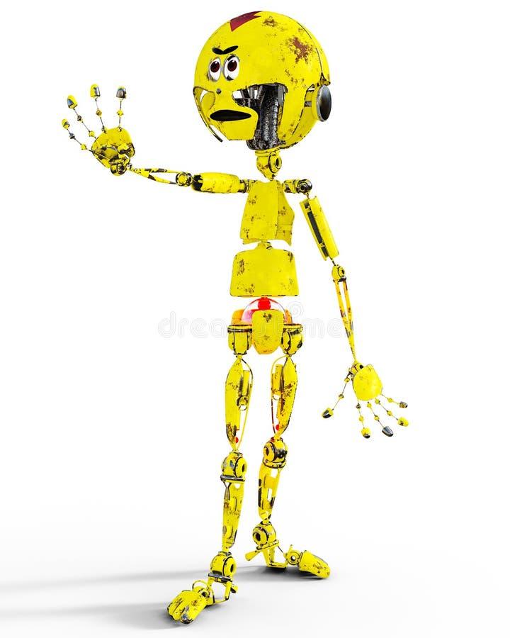 Vieux llustration mécanique triste de robot en métal jaune illustration libre de droits