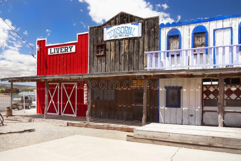 Vieux magasins occidentaux sauvages, vieille ville occidentale américaine photo stock