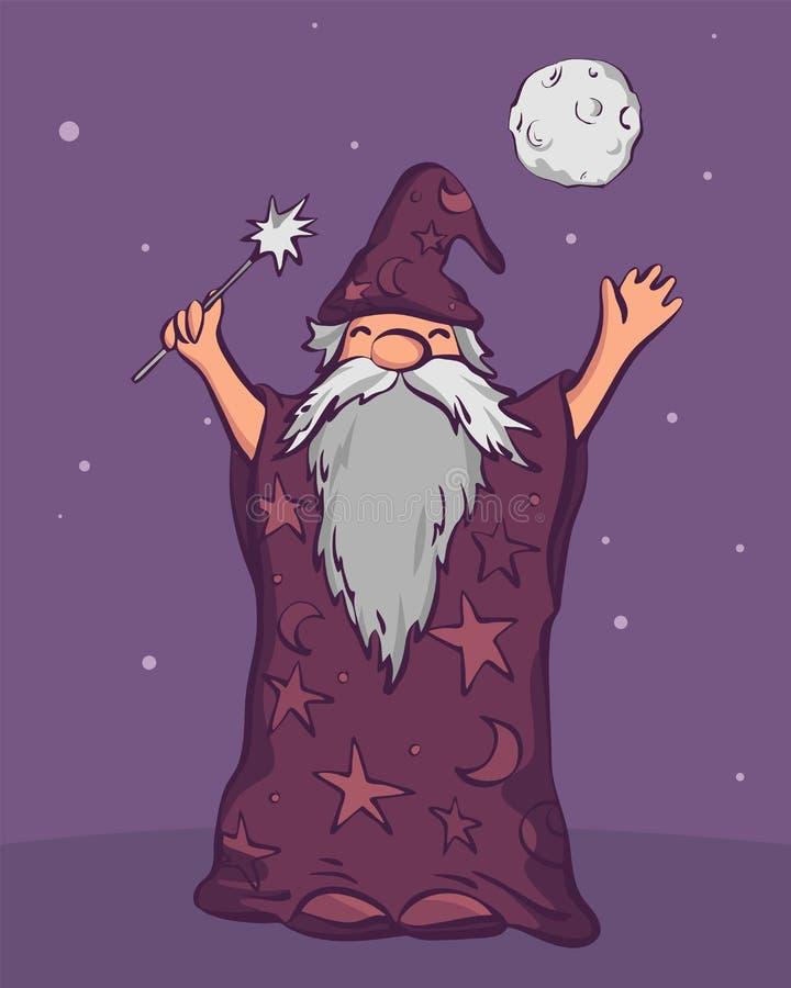 Vieux magicien d'astrologue prêt à jeter le sort, ½ de ¿ d'illustrationï de vecteur de style de bande dessinée illustration libre de droits