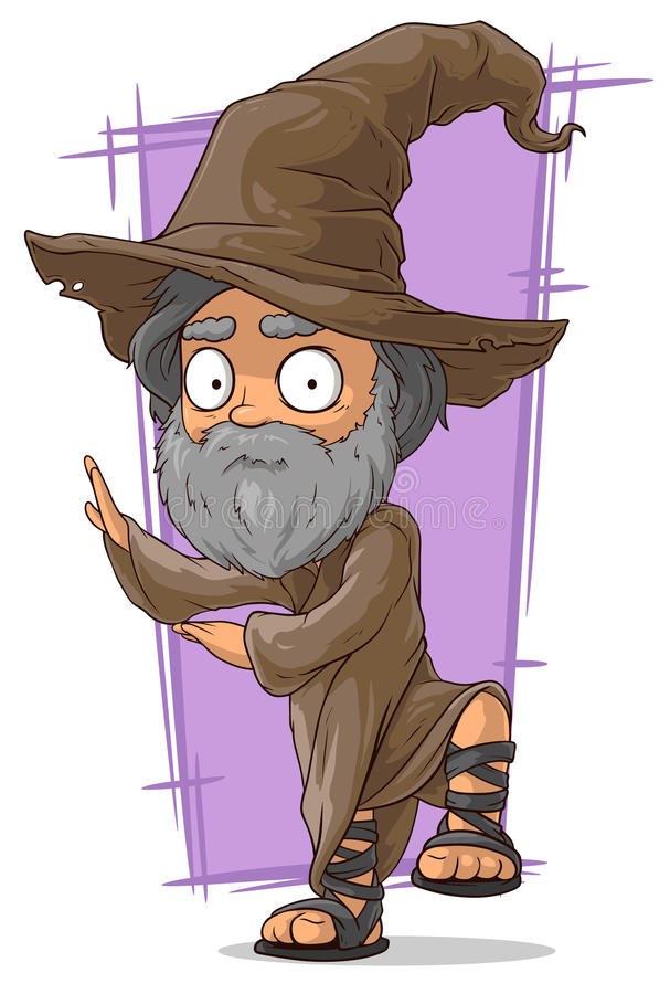 Vieux magicien de bande dessinée dans le grand chapeau illustration stock