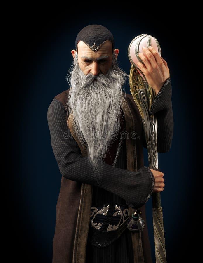 Vieux magicien mauvais de Warlock posant avec le personnel sur un fond fonc illustration de vecteur