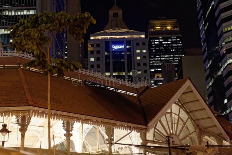 Vieux marché à Singapour la nuit images libres de droits