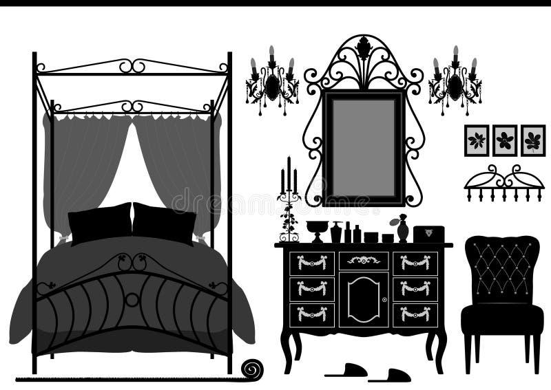 Vieux meubles de pièce royale de chambre à coucher illustration libre de droits