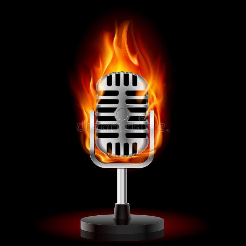 Vieux microphone en incendie. illustration de vecteur
