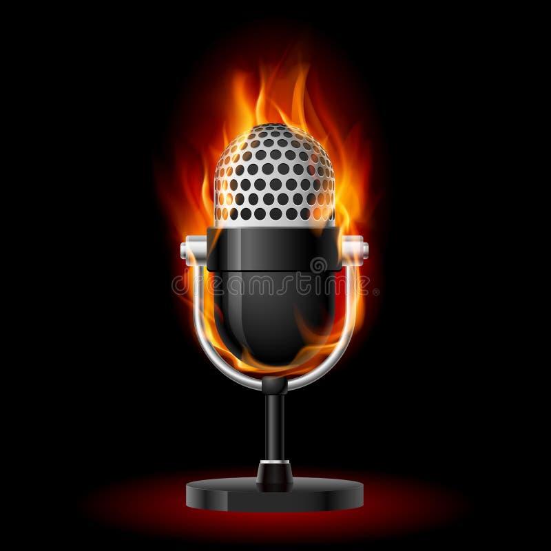 Vieux microphone en incendie. illustration libre de droits