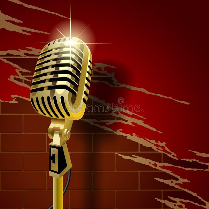 Vieux microphone sur le mur de briques illustration libre de droits