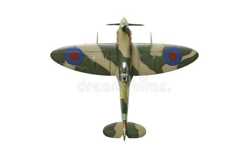 Vieux mod?le de jouet d'avion de la t?te br?l?e, chasseur britannique servi dans la deuxi?me guerre mondiale photo stock