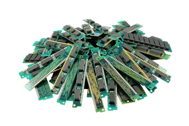 Vieux modules de mémorisation par ordinateur, d'isolement images stock