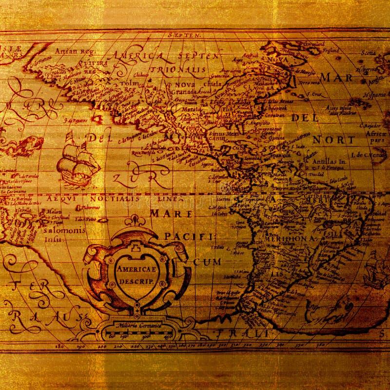 Vieux Monde sale de carte de cartographie de fond image libre de droits