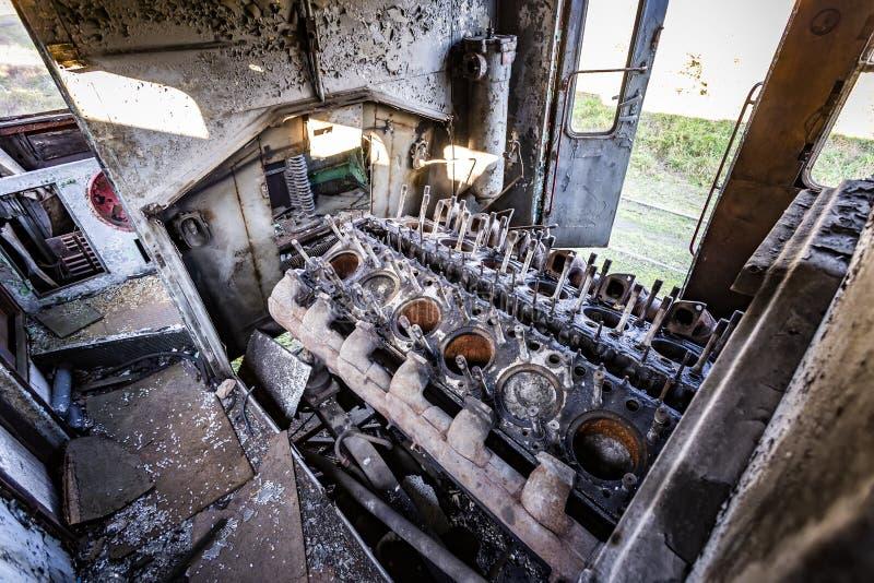 Vieux moteur diesel dans le railbus SN61 image stock