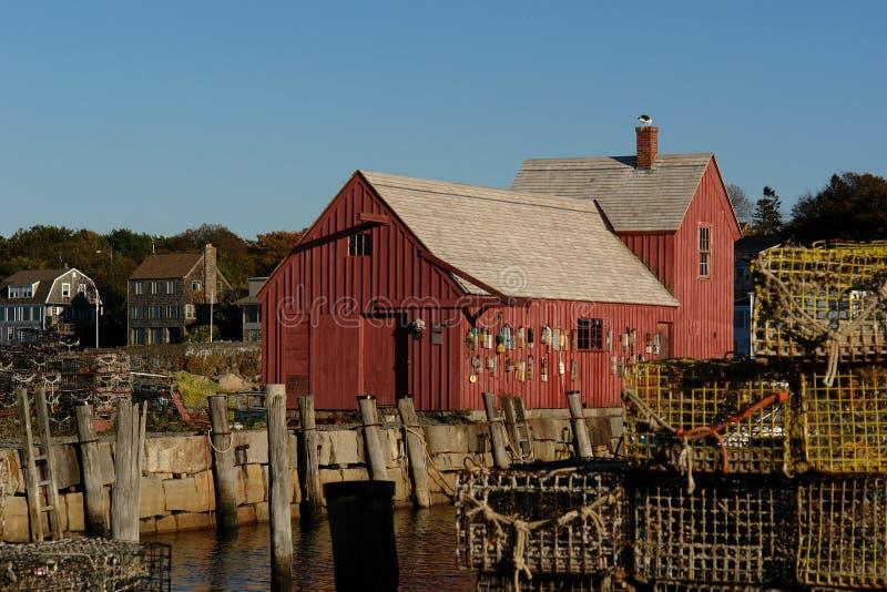 Vieux motif de cabane de pêche numéro un avec des trappes de langoustine images libres de droits