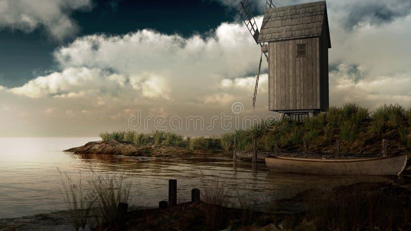 Download Vieux moulin à vent illustration stock. Illustration du vieux - 45372373