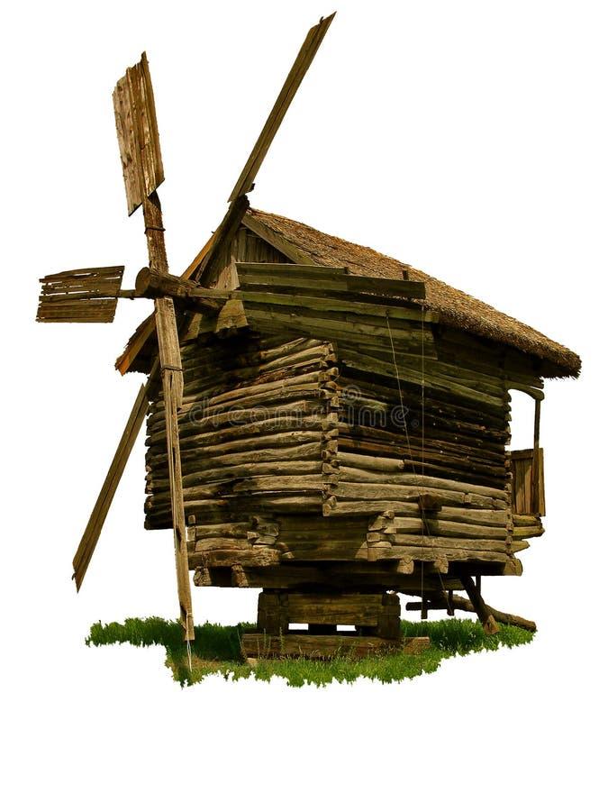 Vieux Moulin à Vent En Bois D Isolement Photographie stock