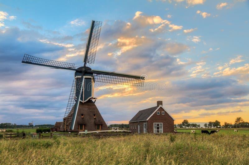 Vieux moulin à vent néerlandais de coucher du soleil image stock
