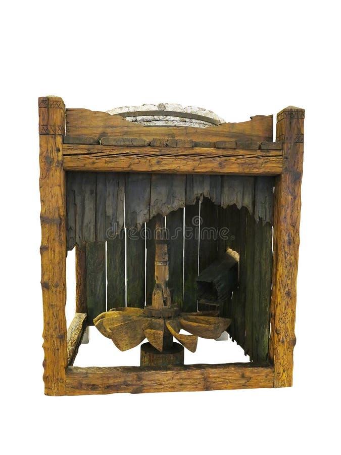 Vieux moulin conduit en bois antique de roue d'eau d'isolement au-dessus du blanc images libres de droits