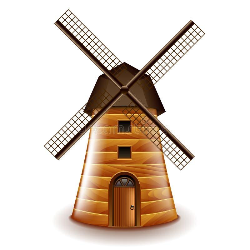 Vieux moulin d'isolement sur le vecteur blanc illustration stock