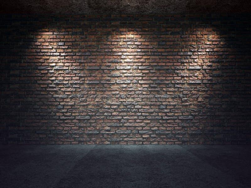 Vieux mur de briques illuminé par des projecteurs photos libres de droits